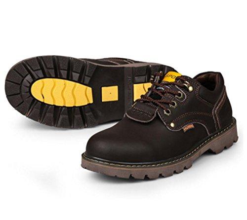 WZGNeue Männer Leder Werkzeug Outdoor-Schuhe rutschfeste Schuhe Herrenschuhe niedrige Masse zu helfen Dark Brown