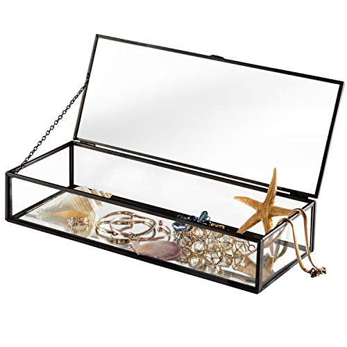 Glas-display Regale (Vintage Stil Metall und Glas Klar verspiegelt Shadow Box Jewelry Display Fall w/aufklappbaren Deckel Antik Schwarz)