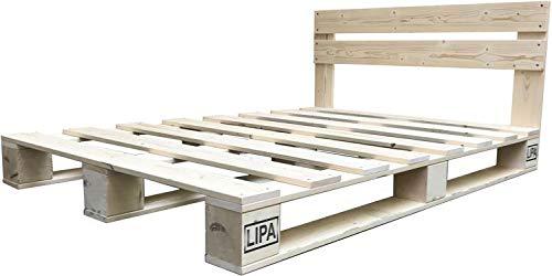 LIPA Palettenbett mit Kopfteil Massivholzbett Paletten Bett Holz Palettenmöbel hergestellt in BRD