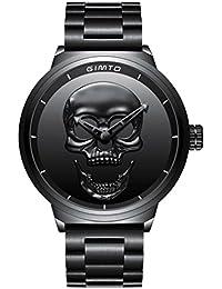 gimto Creative 3D Calavera Hombres del Reloj Fresco Militar Reloj de Pulsera  de Cuarzo de Gran fc3ce2033f1c