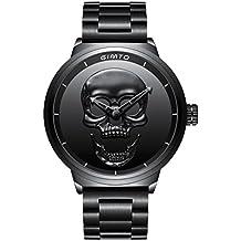 gimto Creative 3D Calavera Hombres del Reloj Fresco Militar Reloj de Pulsera de Cuarzo de Gran