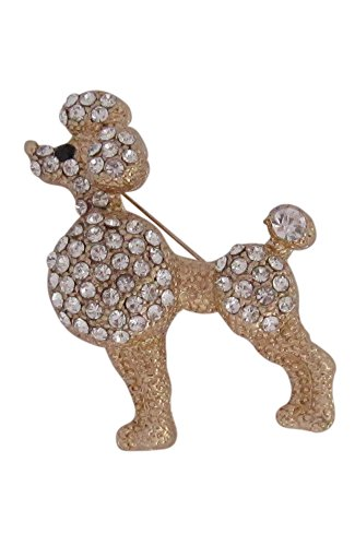 Brosche Boutique groß vergoldet Kristall Brosche Hund Pudel -