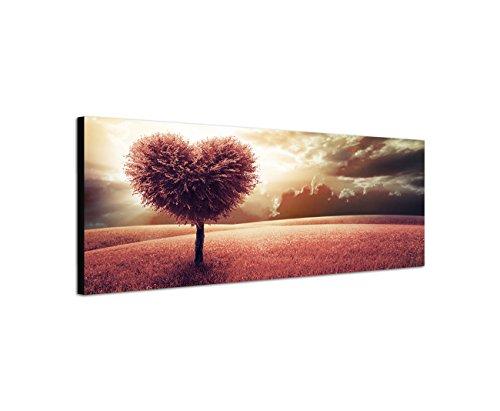 Keilrahmenbild Wandbild 150x50cm Wiese Baum Herz abstrakt Wolkenhimmel
