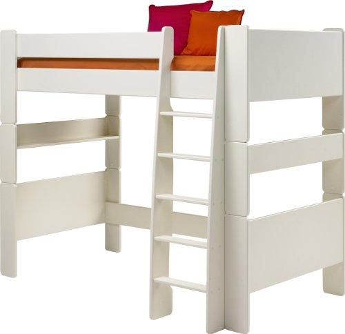 *Steens für Kinder Halbhochbett, inkl. Lattenrost, teilbar, MDF, 90×200 cm, weiß lackiert*