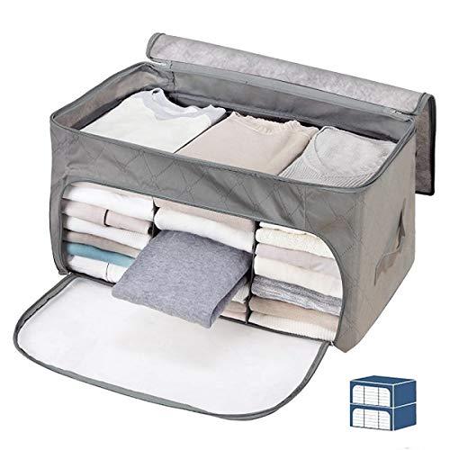 Janolia Kleidung Decke Quilts Aufbewahrungstasche, extra Platz Unterbett Aufbewahrungstasche, faltbar Aufbewahrung Organisatoren Closet, umweltfreundlichem Bambus Vliesstoff