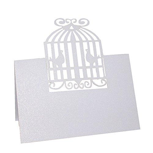 Fenteer 50x Einzigartig Grußkarten Wunschkarten Geschenkkarten Platzkarten Tischkarten Hochzeit Dekoration - Liebe Vögel Käfig