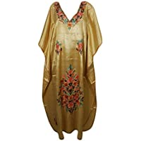 Women Kaftan Dress Beige Silk Embroidered Lounge Maxi Caftan One Size