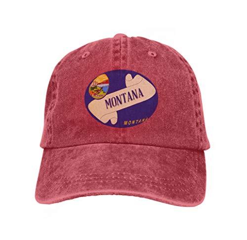 Xunulyn Adjustable Hat Baseball Flat Bottom Cap Scroll Text Montana Flag State Detail Montana Flag Scroll red