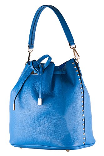 BORDERLINE - 100% Made in Italy - Weichen Eimer Tasche aus echtem Leder - DIANA Electric Blue