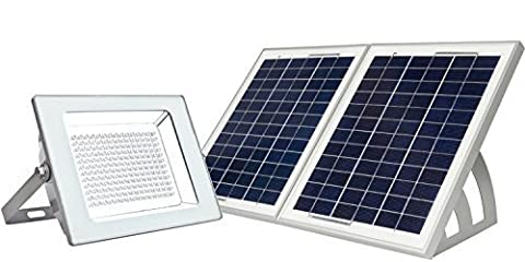 MicroSolar - Super Bright !!! - Lithium Battery - 180 LED - IP65 --- Automatically Working from Dusk to Dawn at Good Sunshine // Wall mounted or Ground Mounted // Solar Floodlight