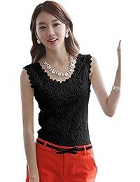 Dayiss®Elegant Damen Shirts Tanktop Lace ärmellos zarte Spitze Blumen Stickerei Rundhals Tops in 2 Farben