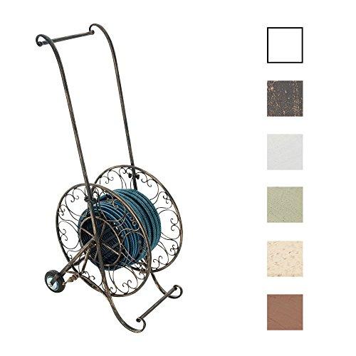 CLP Schlauchwagen BALKO aus Eisen | Schlauchgarage mit Standfuß und Laufrädern | Gartenschlauchhalter mit edlen Verzierungen für 50 m Gartenschlauch | In verschiedenen Farben erhältlich Bronze