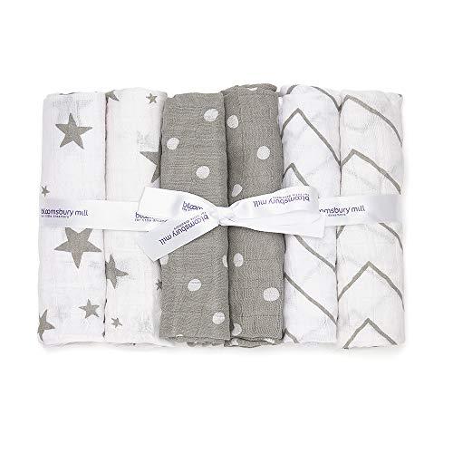 Bloomsbury Mill - 6er-Pack Mulltücher für Baby - Sterne, Winkelmuster & Punktmuster - Grau & Weiß (Schnuffeltuch-set Blau Weiß)