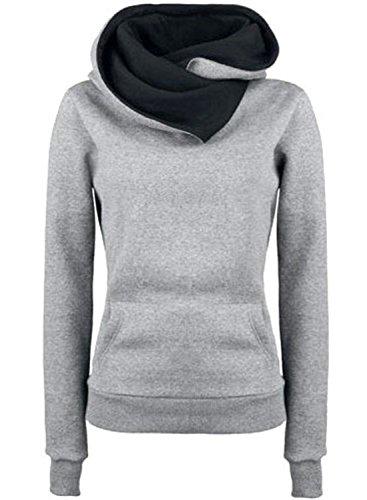 AZBRO Femme Pull en Tricot Manchon Longueur Couleur Pur avec Chapeau Grey