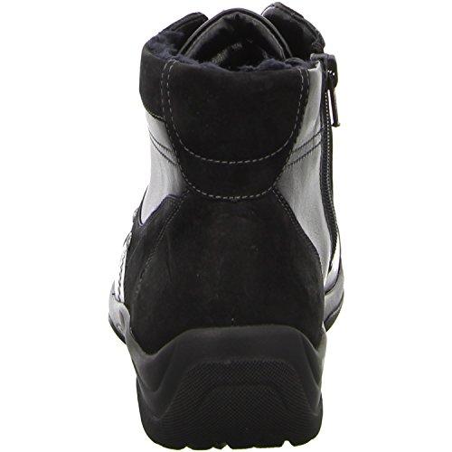 Waldläufer hoher Damen Schnürschuh HESNA 312801, Nubuk-Soft Memphis 219, Schwarz 001, UK Schwarz