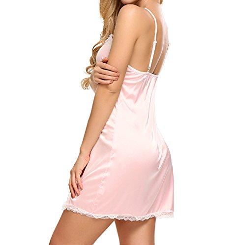 Avidlove Satin Nachtwäsche Pyjama Set Sommer Damen Negligee Kurz Schlafanzüge Sexy Nachthemd mit Spitzenbesatz A Rosa
