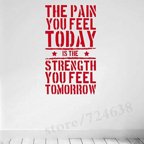 Olivialulu Englisch Zitat -Die Schmerzen, die Sie heute fühlen Home Gym Motivation Aufkleber Fitness Stärke Workout Wandaufkleber Wandkunst für Kinder 56 * 100Cm anpassbar - Tür-workout-system