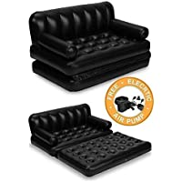 Babari 5 in 1 Inflatable 3 Seater King Size Sofa Cum Bed with Pump and Carry Bag (Black)