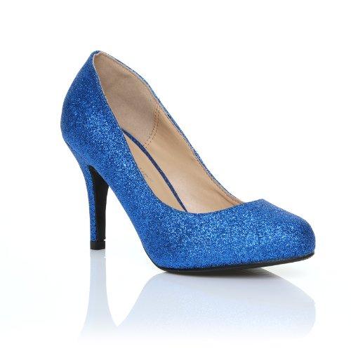 ShuWish UK - Escarpins à Talons Aiguilles Bleus Paillettes Classique Elégante Pearl Bleu à paillettes