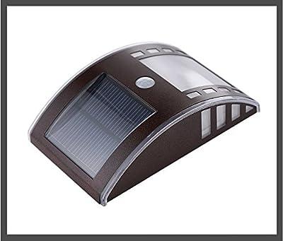 Edelstahl wetterfest Sensor Wandhalterung Motion Solarleuchte LED Solar Powered Outdoor Landschaft Garten Home Lobby Beleuchtung Lampe Tür stairsway Sicherheit Licht (braun)