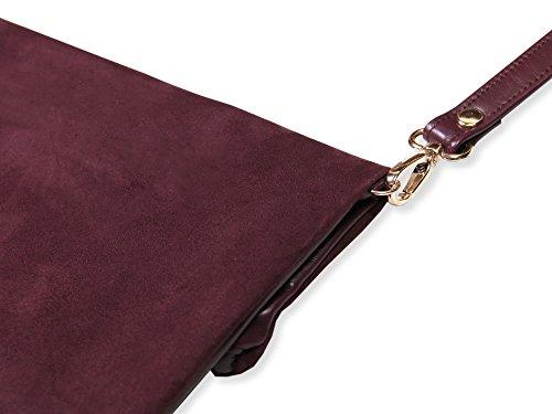lille mus Damen Foldover-Tasche Finja mit Umhängeriemen, aus Leder Bordeaux/Velour