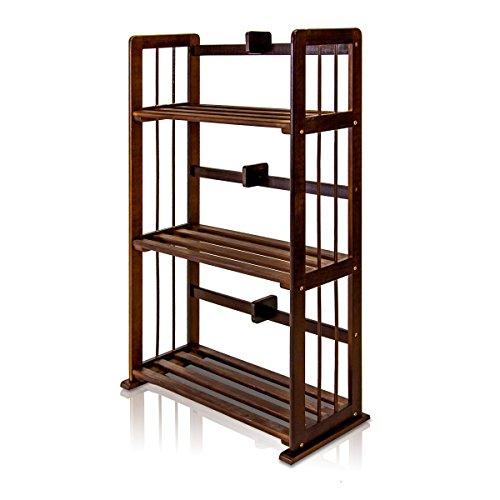 Furinno Laptoptisch Holz Pinie massiv Bücherregal, Espresso, 3-Tier -