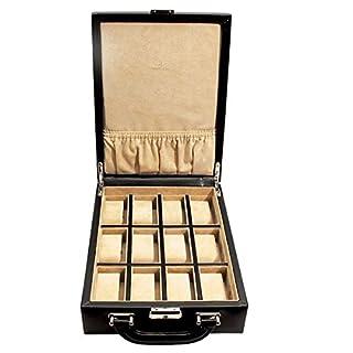Windrose Ambiance Uhrenkoffer Uhren-Safe-Koffer für 12 Uhren Schwarz