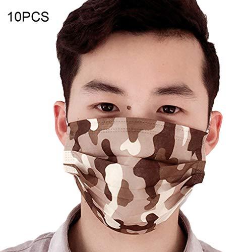 Flushzing 10PCS / Set Camouflage Pinting Einwegstaubmaske Außen PM2.5 Anti Staubmaske Mund-Maske Kit -