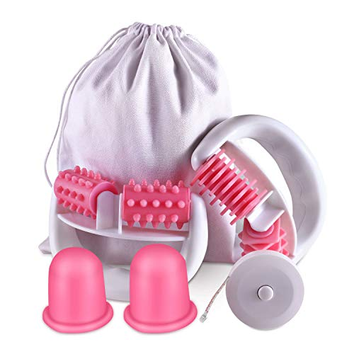 Anti Cellulite Roller Massageroller & Schröpfen Cup Set Anti Cellulite Massage gegen Cellulite und Hautproblemen Massagegeräte Tools Set mit Transport-Tasche und Lineal,Pink -