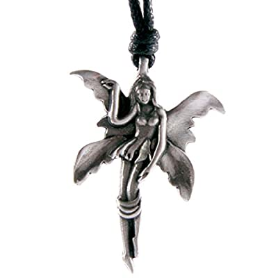Pewter Fairy and Unicorn Pendant - Fairy in Heart
