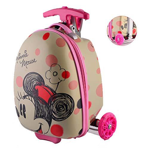 \\t 2 In 1 Kinderkoffer Scooter Klappbar Höhenverstellbar Roller Und Kindergepäck Reisegepäck Trolley Reisekoffer-20-zoll Minnie-20 inches