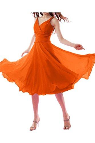 La_mia Braut Einfach Elegant Chiffon Traegerkleider V-ausschnitt Abendkleider Brautjungfernkleider Promkleider Wadenlang Kurz Orange