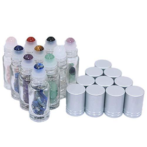 Pinklife Crystal Gemstone Essential Oil Roller Flaschen, 10 Stück, 5 ml, durchsichtig, auslaufsicher, mit Heilkristall-Chips für Parfüm und Aromatherapie-Öle (Grünen Amethyst Crystal)