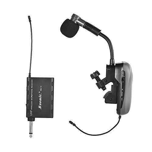 ammoon Sistema Del Microfono Dello Strumento per Sax Professionale UHF Senza Fili Ricevitore e Trasmettitore 630-690MHz 16 Canali Saxon Tromba Francese Trumpet Baomic BM-12 / V2 Nero