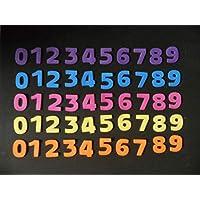 Figuras de goma eva Silvys para decoración, manualidades, 50 números de 3 cm x 2,5cm aprox. de colores variados morado, azul, rosa, amarillo, y naranja