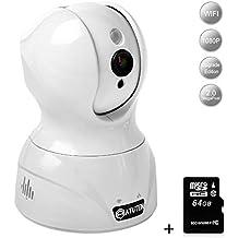 Cámara IP WiFi Incluyendo la tarjeta SD 64G, Atuten 1080P HD WiFi Vigilancia Cámara con Micrófonos Bidireccional por Infrarrojos de Visión Nocturna, Detección de Movimiento, El Monitor del bebé Cámara de Vigilancia de la Seguridad Casera Blanco