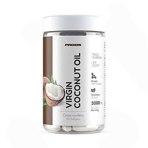Prozis Virgin Coconut Oil 1000mg 90 Softgel-Kapseln - Energie-Booster - ideal zum Gewichtsverlust & als Fatburner - Kaltgepresst und Unraffiniert - 90 Portionen - Natürliche Immunsystem Booster