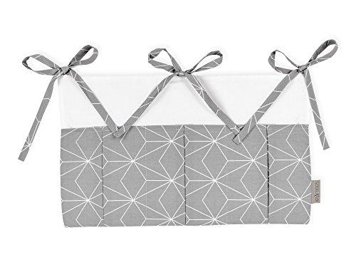 KraftKids Betttasche weiße dünne Diamante auf Grau, Hänge-Ablage 50 x Höhe 30 cm, Bett-Organizer -