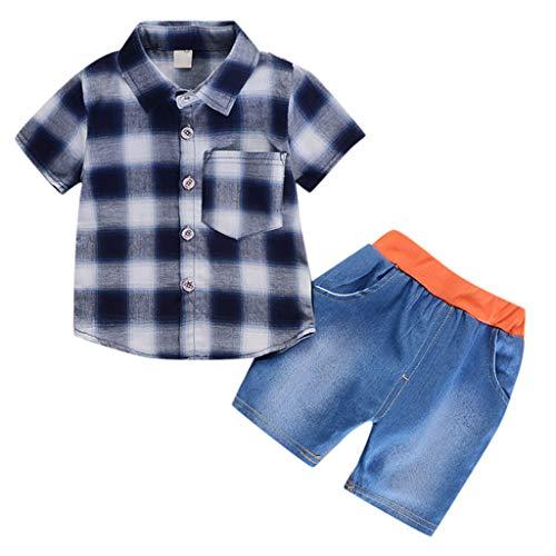 Poachers Poachers SäUglings Baby Mädchen Kariertes Hemd Drucken Feste Denim Shorts 2er Set Outfits