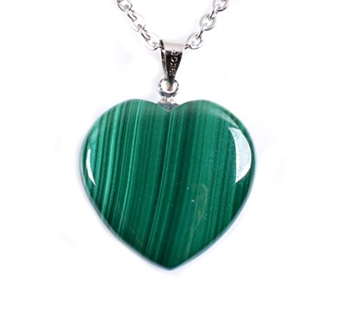 Amandastone naturale malachite heart reiki ciondolo collana 45,7 cm, base metal, colore: malachite heart, cod. gem-n0090