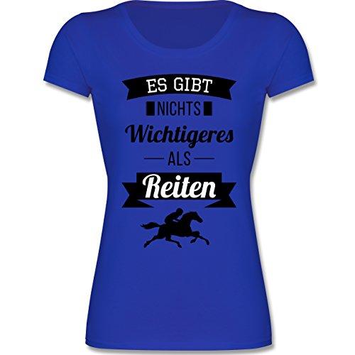 Sport Kind - Es Gibt Nichts Wichtigeres als Reiten - 128 (7-8 Jahre) - Royalblau - F288K - Mädchen T-Shirt (Shirt Kinder Zeigen)