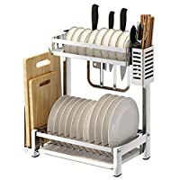 KOUQI Dish Drying Rack,Over The Sink Adjustable Arms Dish Drainer,Removable Compact Utensil Holder Rustproof Stainless Steel(35cm-42.5cm),B