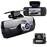 Caméra de Tableau de Bord Avant et arrière pour Voiture Full HD 1080p avec Vision Nocturne Grand Angle 170 °, Enregistrement en Boucle, capteur G, détection de Mouvement