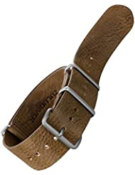 Bracelet de montre NATO en cuir véritable par ZULUDIVER Marron foncé 20mm