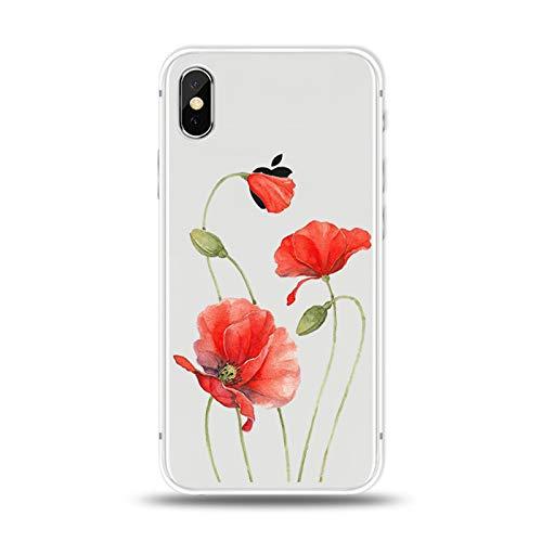 LPZOOOM iPhone 7 Hülle, Case iPhone 8 Transparent Schmales Gehäuse TPU Silikon Handyhülle Durchsichtige Schutzhülle Sonnenblume Bild Hülle Stoßfest Bumper Cover Schutz Tasche Schale für iPhone 7