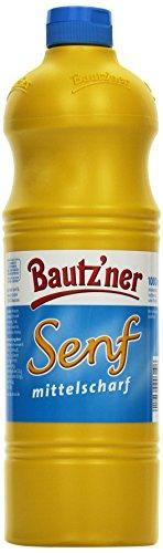 BAUTZ\'NER Senf mittelscharf - 4er Pack (4 x 1 l) Flasche Mittelscharfer Senf- Original Bautz\'ner Rezeptur seit 1955 - Ohne Zusatz von Konservierungsstoffen und Geschmacksverstärkern - Senf