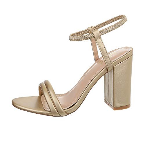 Ital-Design Damenschuhe Sandalen & Sandaletten High Heel Sandaletten Synthetik Gold Gr. 40 Gold High Heel Sandaletten