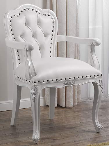 Simone Guarracino Stuhl mit Armlehnen Josephine Moderner Barock Stil weiß lackiert und Blattsilber Kunstleder weiß Crystal Sw Knöpfe