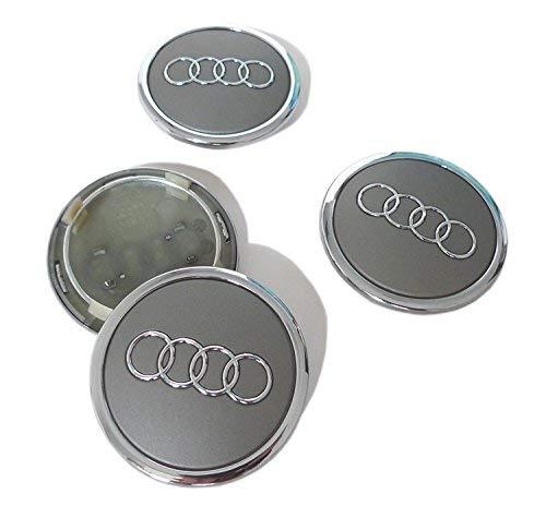 Satz mit 4 Mittelkappen für Leichtmetallfelgen mit Logo 69 mm, grau