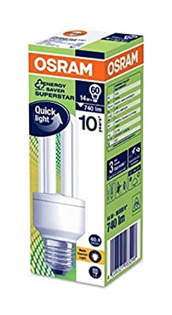 Osram E27 14 Watt Compact Fluorescent Light Dulux Star Stick Cfl Energy Saving Bulb